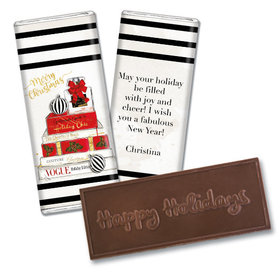 Personalized Embossed Chocolate Bar - Christmas Holiday Chic