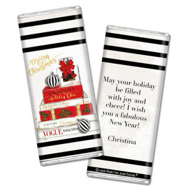 Personalized Chocolate Bar & Wrapper - Christmas Holiday Chic