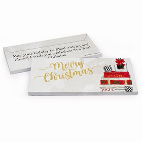Deluxe Personalized Christmas Holiday Chic Chocolate Bar in Gift Box