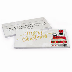 Deluxe Personalized Christmas Holiday Chic Candy Bar Favor Box