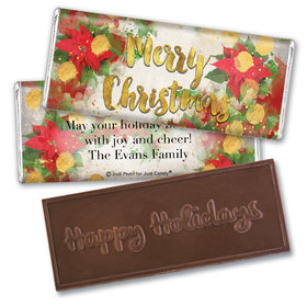 Personalized Embossed Chocolate Bar - Christmas Holly