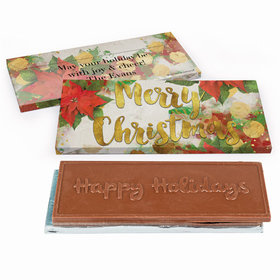 Deluxe Personalized Christmas Holly Chocolate Bar in Gift Box