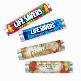 Personalized Christmas Holly Lifesavers Rolls (20 Rolls)
