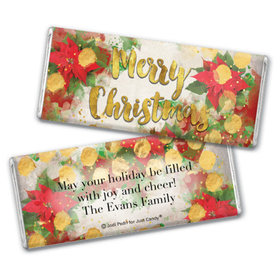 Personalized Chocolate Bar & Wrapper - Christmas Holly