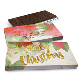 Deluxe Personalized Christmas Holly Chocolate Bar in Gift Box (3oz Bar)