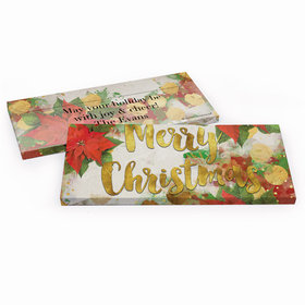 Deluxe Personalized Christmas Holly Candy Bar Favor Box