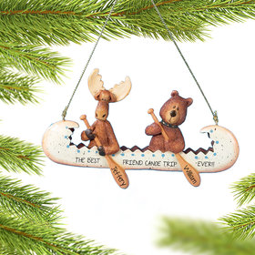 Personalized Bear and Moose in Canoe