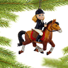 Personalized Young Equestrian Horse Rider (Brown Horse)
