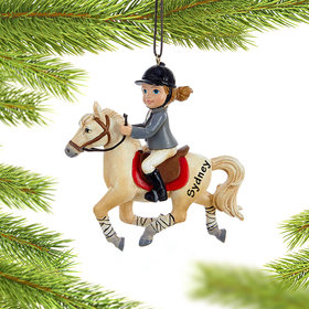 Personalized Young Equestrian Horse Rider (White Horse)