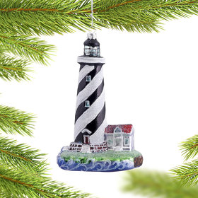Personalized Black and White Striped Lighthouse