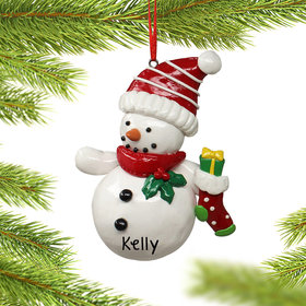 Personalized Snowman Holding a Stocking