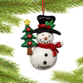 Personalized Snowman Holding Christmas Tree