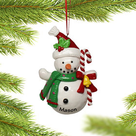 Personalized Snowman Holding Candy Cane