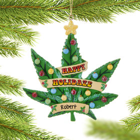 Personalized Cannabus Leaf Christmas Ornament