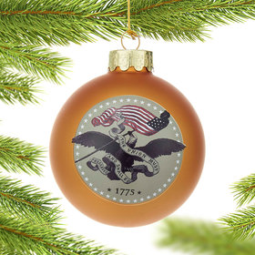 Personalized U.S. Army Gold Glass Ball Christmas Ornament