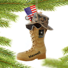 Personalized Army Boot with USA Flag Christmas Ornament