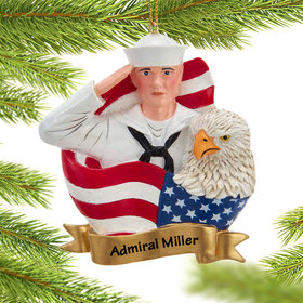 Personalized US Sailor with Flag