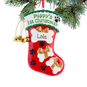 Personalized Puppy's First Christmas Stocking