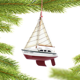 Personalized Wooden Yacht Sailboat with Red Hull