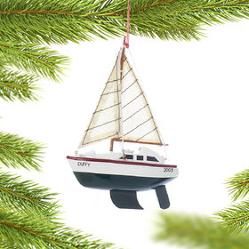 Personalized Wooden Sailboat with Green Hull