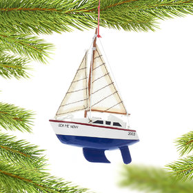 Personalized Wooden Yacht Sailboat with Blue Hull