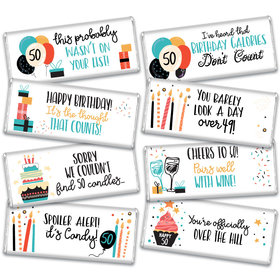 50th Birthday Candles Candy Hershey's Chocolate Bars Gift Box (8 Pack)