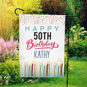 Personalized Birthday Confetti & Candles - Garden Flag