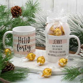 Personalized Hello Forty 11oz Mug with Lindt Truffles