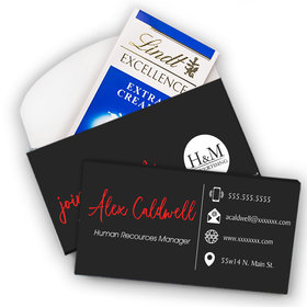 Deluxe Custom Promotional Chocolate Business Card Lindt Chocolate Bar in Gift Box (3.5oz)