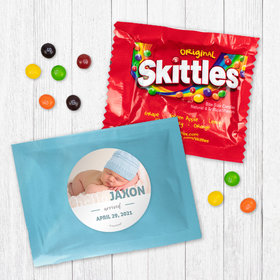 Personalized Boy Birth Announcement Say Hello Photo - Skittles