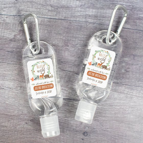 Personalized Baby Shower Hello World Hand Sanitizer with Carabiner - 1 fl. Oz.