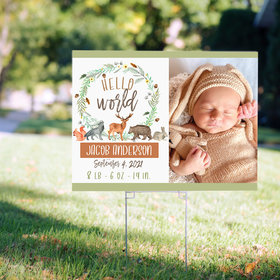 Personalized Baby Shower Yard Sign - Hello World Baby Shower