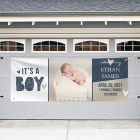 Personalized Birth Announcement Garage Banner - It's a Boy