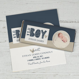 Personalized Birth Announcement It's a Boy Chocolate Bar Wrappers