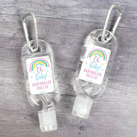 Personalized Baby Shower Rainbow Baby Hand Sanitizer with Carabiner - 1 fl. Oz.
