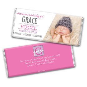 Personalized Pink Monogram Baby Girl Birth Announcement Hershey's Chocolate Bar & Wrapper