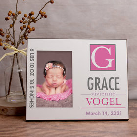 Personalized Picture Frame - Baby Pink Monogram