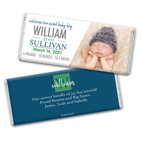 Personalized Blue Monogram Baby Boy Birth Announcement Hershey's Chocolate Bar & Wrapper