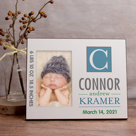Personalized Picture Frame - Baby Blue Monogram