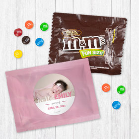 Personalized Girl Birth Announcement Pink Baby Girl - Milk Chocolate M&Ms