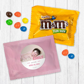 Personalized Girl Birth Announcement Pink Baby Girl - Peanut M&Ms