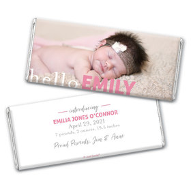 Personalized Hello Photo in Pink Baby Girl Birth Announcement Hershey's Chocolate Bar & Wrapper