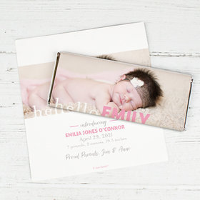 Personalized Hello Photo in Pink Baby Girl Birth Announcement Hershey's Chocolate Bar Wrappers