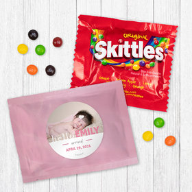Personalized Girl Birth Announcement Pink Baby Girl - Skittles