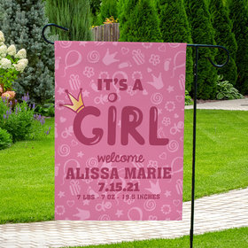 Personalized Birth Announcement It's A Girl - Garden Flag