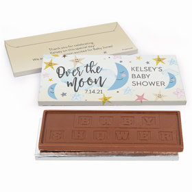 Deluxe Personalized Over the Moon Baby Shower Embossed Chocolate Bar in Gift Box