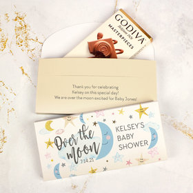 Deluxe Personalized Over the Moon Baby Shower Godiva Chocolate Bar in Gift Box