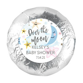 Personalized Over the Moon Baby Shower 1.25in Stickers (48 Stickers)
