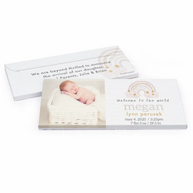 Deluxe Personalized Monochromatic Rainbow Baby Shower Chocolate Bar in Gift Box