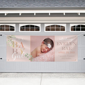 Personalized Birth Announcement Garage Banner - Welcome Baby Girl